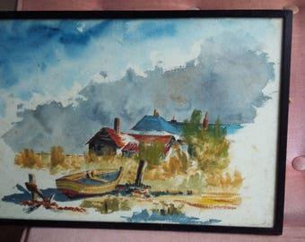 Original Watercolour Boat Beach House Seashore