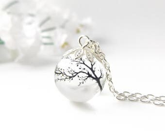 Tree necklace - silver plated resin orb necklace - tree silhouette - nature inspired jewellery handmade in the UK