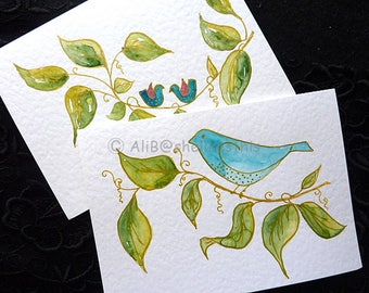 Handmade original watercolour blue birds art cards in watercolour blank greeting cards set of 2