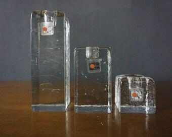 Vintage Blenko Glass Candleholders - Mid Century Modern Design - Ice Block Candleholders - Blenko Glass Set of 3 Graduated Candle Holders