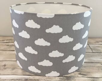 Nursery light etsy grey clouds lampshade lightshade ceiling light table lamp nursery light childrens mozeypictures Choice Image