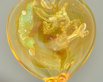 Heart of Gold Art Glass Paperweight, Gold, XtraLarge Size with Stardust Glass