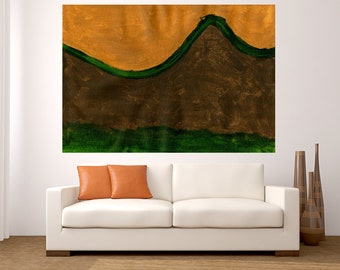 Fine Art abstract brown green painting large art webs acrylic painting modern decor office living room dinning room hand made minimalist