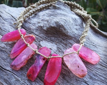 Handmade Hemp Macrame Necklace with Banded Agate Crystal Beads