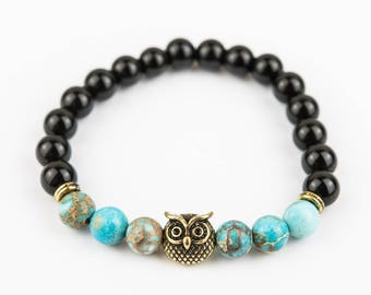 Silver Owl bracelet Gloss marbles with Turquoise stone one of a kind
