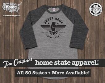 Sweet Home Raglan: Charcoal on Grey Baseball Raglan Shirt