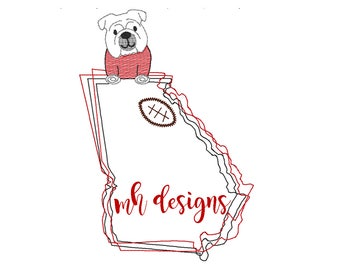 5x7 State of Georgia with Bulldog and Football embroidery design, Vintage stitch bulldog, Georgia embroidery file, Bean stitch bulldog