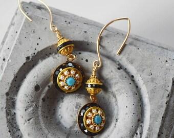 Vintage Turquoise Pearl Earrings/Dangle Gold Earrings for Her/Statement Long Earrings/Gift Girlfriend/Pearl/Jet Black/Turquoise/OOAK/Modern