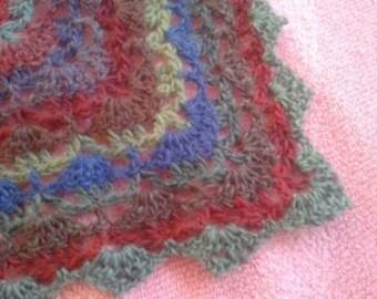 Triangular lacy crocheted shawl multicolour variegated wool