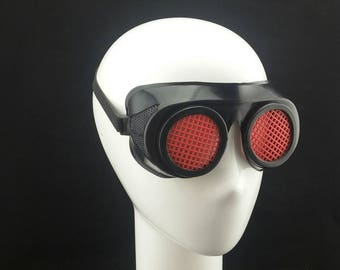 Cyber Rubber Goggles with Red Lenses minion goggle cyberpunk aviator sunglasses cosplay glasses cyber goggles goggles punk goggles