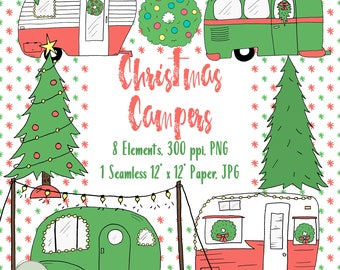 Christmas Camper Clipart, Hand Drawn Christmas Campers, Christmas Camper Illustrations, Christmas Camper Digital Stamps, Christmas Clipart
