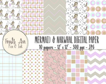 Mermaid Digital Paper, Mermaid Scrapbook Paper, Cute, Pastel, Patterned, Kid's, Digital Paper, Scrapbook Paper, Digital Collage
