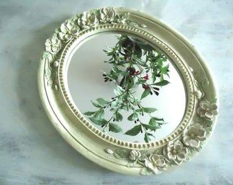 Vintage Cottage Mirror, Oval Mirror, Shabby Chic Flower Wall Mirror, Retro Home, Bohemian Mirror,Powder Room, Bedroom, Feminine Mirror, Hall