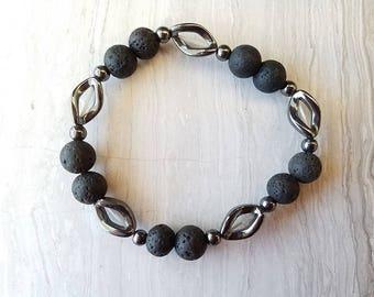 Essential Oil Diffuser Bracelet Lava Beads - Carved Hematite, Aromatherapy bracelet