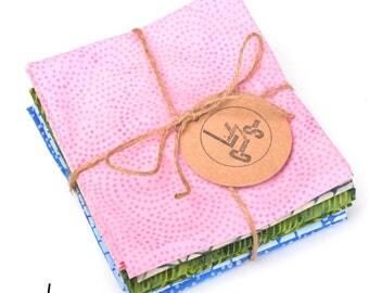 Blue and Green Batiks Fat Quarter Bundle Island Batiks Quilt Fabric