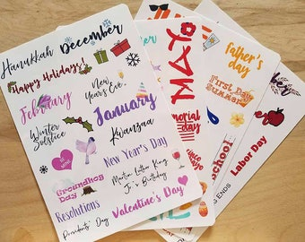 One year of holiday stickers for Bullet Journals, Erin Condren planners, Happy planners