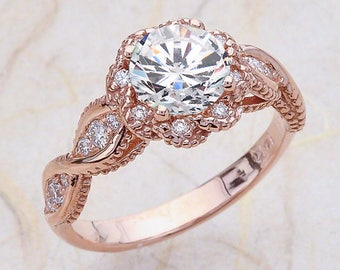 Moissanite Engagement Ring Rose Gold, Moissanite Rose Gold Vintage Ring, Rose Gold Moissanite Engagement Ring, NEO Moissanite Halo Rose Gold