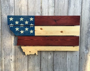 Recycled Pallet Montana American Flag
