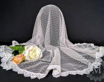 White Swiss Dot Lace / Point D'Esprit Lace Mantilla / Veil / Chapel Cap with Narrow White Trim