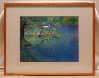"""Colorful Signed Matted & Framed Vintage Sharon Phillips """"Ojai Dock"""" Pastel Painting"""