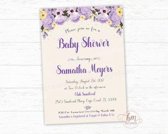 Purple Floral Baby shower invitation, Floral Baby Shower Invite, Baby Girl Baby Shower, PRINTABLE FILE HM345