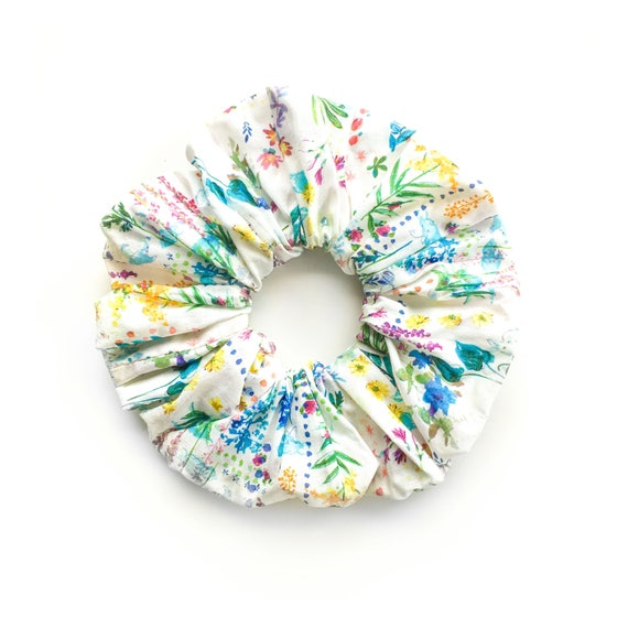 FLOWERS on WHITE. Large Scrunchy. Floral Scrunchies. Women Hair Accessories, Retro Accessory