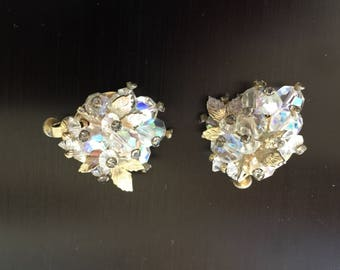 Vintage Signed Vendome Crystal Clip On Earrings