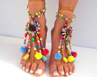 Barefoot Sandals, Beach Jewelry,  pom pom Hippie Sandals, Foot Jewelry,  festival accessories, yoga toe, anklet