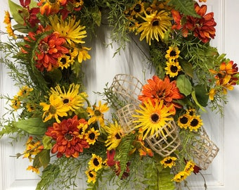 Summer/ autumn wreath, Thanksgiving Wreath, Fall Decor, Fall Door Decoration, Daisy Door Wreath, Everyday wreath