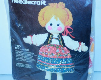 "Vintage Bucilla Needlecraft Doll Kit 3628 Heidi 18.5"" tall sealed"