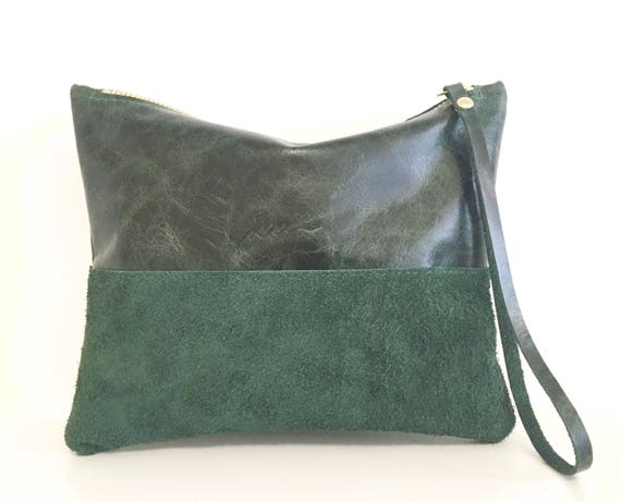 Leather pouch green, green leather purse, small leather bag green