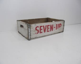 Wood Crate, Soda Crate, Seven Up Wood Storage Crate, 7-Up Wood Box, Photo Prop