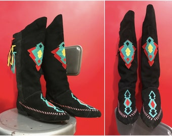 1980s Suede Southwestern Boots // Black Leather Tall Moccasin Boots w Fringe sz 9 / 9.5