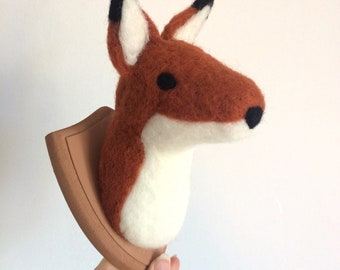 Fox head Trophy Handmade Needle Felted orange small made to order