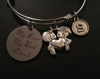 My Love, My Best Friend Boy/Girl Adjustable Stainless Steel Bangle Bracelet with Initial Charm