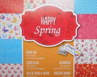 "Block 30 sheets 15 x 15 cm ""Happy spring"" scrapbooking"