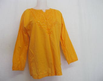 Boho Tunic Embroidery Tunic one Size Cotton Tunic Saffron Yellow