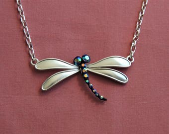 Silver Dragonfly Necklace Pendant Mothers Day Gift