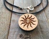 Autism Jewelry-Autism Awareness Tribal Sun-Autism Puzzle Piece Necklace-Autism Art-Art Jewelry-Laser Cut Pendant-Autism Gift