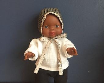 Black Retro new born boy or girl baby pants, shirt and bonnet.