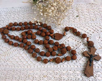 Vintage french large Montmartre Sacré Coeur rosary made of hand carved wooden beads. Sacré Coeur pilgrimage rosary. Paris Sacré Coeur