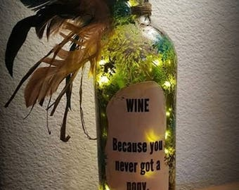 Wine ~ Because You Never Got a Pony Wine Bottle Light with LED Lights