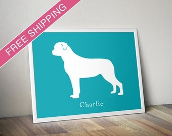Personalized Rottweiler Silhouette Print with Custom Name - Rottweiler dog poster, dog gift, dog home decor