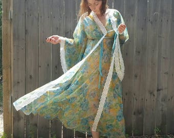 Vintage 60s 70s Nylon Chiffon Peignoir Nightgown Set by Cahill of Montreal