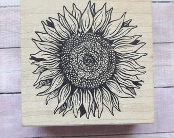 Large Sunflower Wood Mounted Rubber Stamp Scrapbooking Supplies