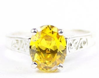 On Sale, 30% Off, Golden Yellow CZ, 925 Sterling Silver Ring, SR366