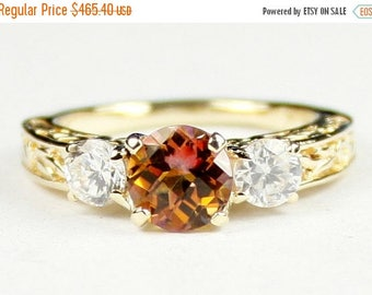 On Sale, 30% Off, Twilight Fire Topaz w/ 2 Accents, 14KY Gold Ring, R254