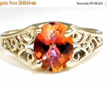On Sale, 30% Off, Twilight Fire Topaz, 18KY Gold Ring R005