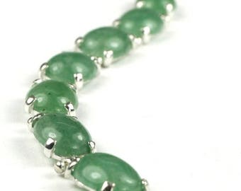 On Sale, 30% Off, Green Aventurine, 925 Sterling Silver Bracelet, SB003C