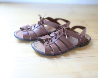 vintage  brown leather lace up sandals womens 6